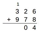 3桁の計算(326+978)